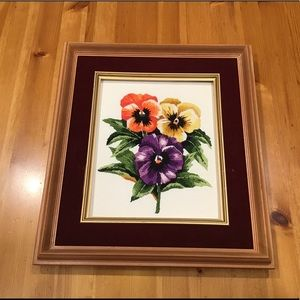 VINTAGE PANSIES EMBROIDERY WALL HANGING